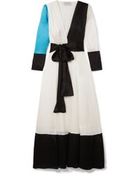 We Are Leone - Color-block Silk-charmeuse Robe - Lyst