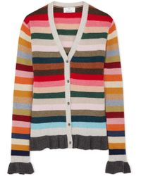 Allude - Ruffled Striped Wool-blend Cardigan - Lyst