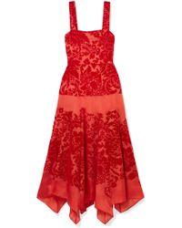 Rosie Assoulin - Flocked Floral Silk And Velvet Midi Dress - Lyst