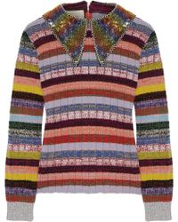 Gucci - Embellished Striped Wool-blend Sweater - Lyst