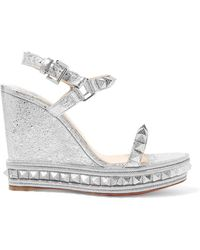 c394e2ae6e7 Christian Louboutin - Pyraclou 110 Spiked Metallic Textured-leather Wedge  Sandals - Lyst
