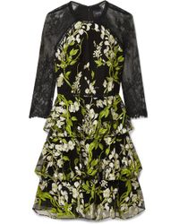 Marchesa notte - Tiered Embroidered Tulle And Lace Mini Dress - Lyst