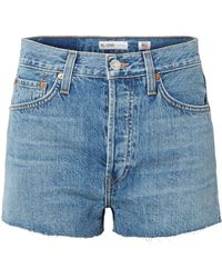 RE/DONE - The Short Frayed Denim Shorts - Lyst
