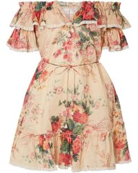 Zimmermann - Laelia Off-the-shoulder Floral-print Linen Mini Dress - Lyst