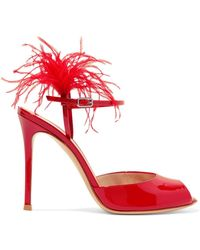 Gianvito Rossi - Feather-trimmed Patent-leather Sandals - Lyst