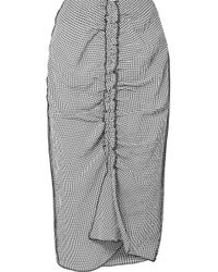 Jason Wu - Ruched Gingham Crinkled Voile Skirt - Lyst