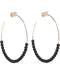 Diane Kordas - Explosion 18-karat Rose Gold, Onyx And Diamond Hoop Earrings - Lyst