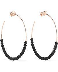 Diane Kordas - Explosion 18-karat Rose Gold, Onyx And Diamond Hoop Earrings - Lyst