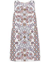 Tory Burch - Hicks Garden Printed Linen-blend Mini Dress - Lyst