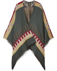 Etro - Fringed Wool-blend Jacquard Cape - Lyst