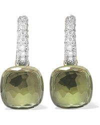 Pomellato | Nudo 18-karat White Gold, Prasiolite And Diamond Earrings | Lyst