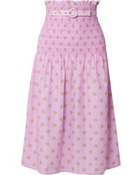 Nicholas - Belted Shirred Polka-dot Cotton And Silk-blend Midi Skirt - Lyst