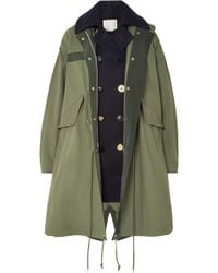 Sacai - Layered Wool And Cotton-blend Twill Coat - Lyst