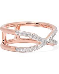Monica Vinader - Riva Wave Cross Rose Gold Vermeil Diamond Ring - Lyst