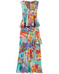 House of Holland | Nova Ruffled Printed Satin Maxi Dress | Lyst
