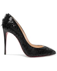 Christian Louboutin - Pigalle Follies 100 Fringed Patent-leather Pumps - Lyst