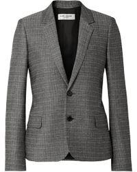 Saint Laurent   Checked Slub Wool And Mohair-blend Blazer   Lyst