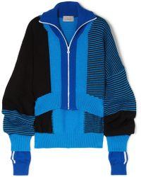 Preen By Thornton Bregazzi - Gemma Asymmetric Paneled Intarsia Wool-blend Sweater - Lyst