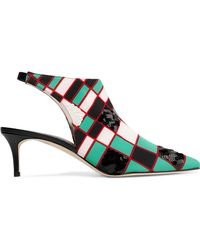 Christopher Kane - Sequin-embellished Printed Stretch-knit Slingback Court Shoes - Lyst