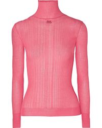 Courreges - Embroidered Ribbed Cotton-blend Turtleneck Sweater - Lyst