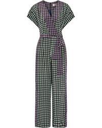 Diane von Furstenberg - Gingham Silk Crepe De Chine Jumpsuit - Lyst