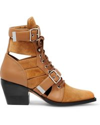 Chloé - Rylee Cutout Suede And Leather Ankle Boots - Lyst
