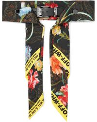 Off-White c/o Virgil Abloh - Floral-print Satin And Leather Waist Belt - Lyst
