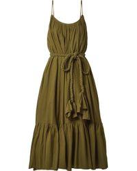 Rhode Resort - Lea Belted Pleated Cotton Midi Dress - Lyst