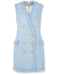 Balmain | Frayed Cotton-blend Mini Dress | Lyst