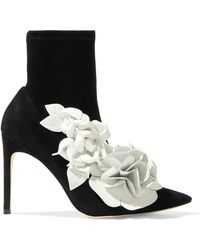 Sophia Webster - Jumbo Lillico Floral-appliquéd Leather And Suede Ankle Boots - Lyst