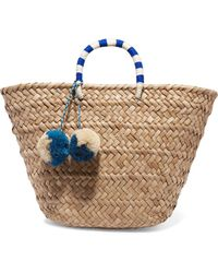 Kayu - St Tropez Pompom-embellished Woven Seagrass Tote - Lyst