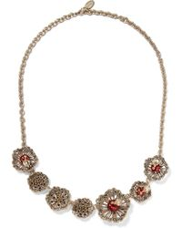 Valentino - Garavani Gold-tone, Crystal And Enamel Necklace - Lyst