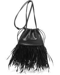 Alexander Wang - Ryan Dustbag Mini Feather-embellished Leather Pouch - Lyst