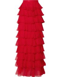 Rodarte - Tiered Polka-dot Flocked Silk-chiffon Maxi Skirt - Lyst