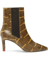 Aeyde - Leila Snake-effect Leather Ankle Boots - Lyst
