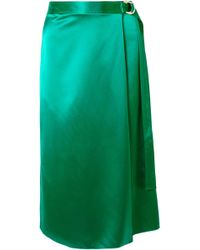 Dion Lee - Wrap-effect Silk-satin Midi Skirt - Lyst