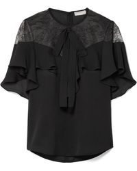 Elie Saab - Lace And Ruffled Silk-blend Crepe Blouse - Lyst