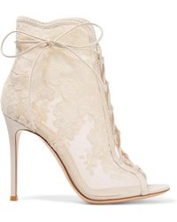 Gianvito Rossi - Giada 100 Lace-up Mesh, Leather And Lace Ankle Boots - Lyst