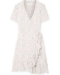 La Ligne - Printed Crepe Wrap Mini Dress - Lyst
