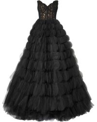 Oscar de la Renta - Strapless Sweetheart Lace Bustier Circle-cutout Tulle Evening Gown - Lyst