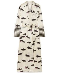 Olivia Von Halle | Capability Printed Silk-satin Robe | Lyst