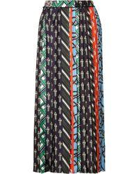 Carven - Pleated Printed Silk-twill Midi Skirt - Lyst