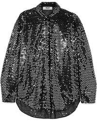 MSGM - Sequined Chiffon Shirt - Lyst