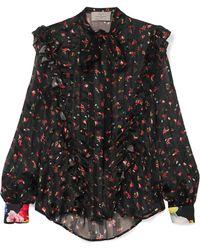 Preen By Thornton Bregazzi - Billy Ruffled Floral-print Silk-jacquard Blouse - Lyst