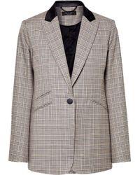Rag & Bone - Ridley Velvet-trimmed Checked Wool And Cotton-blend Blazer - Lyst