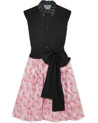 Prada - Cotton-poplin And Metallic Brocade Mini Dress - Lyst