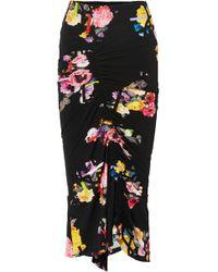 Preen By Thornton Bregazzi - Cosmia Ruched Floral-print Stretch-jersey Midi Skirt - Lyst
