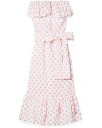 Lisa Marie Fernandez - Sabine Strapless Polka-dot Linen Maxi Dress - Lyst