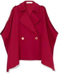 See By Chloé - Asymmetric Cotton-blend Twill Cape - Lyst