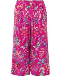 Etro - Cropped Printed Silk-crepe Pants - Lyst